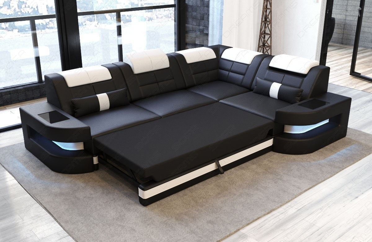 Detalles Acerca De Design Couch Fabric Sofa Denver L Shape Modern Luxury With Led Lighting Headrest