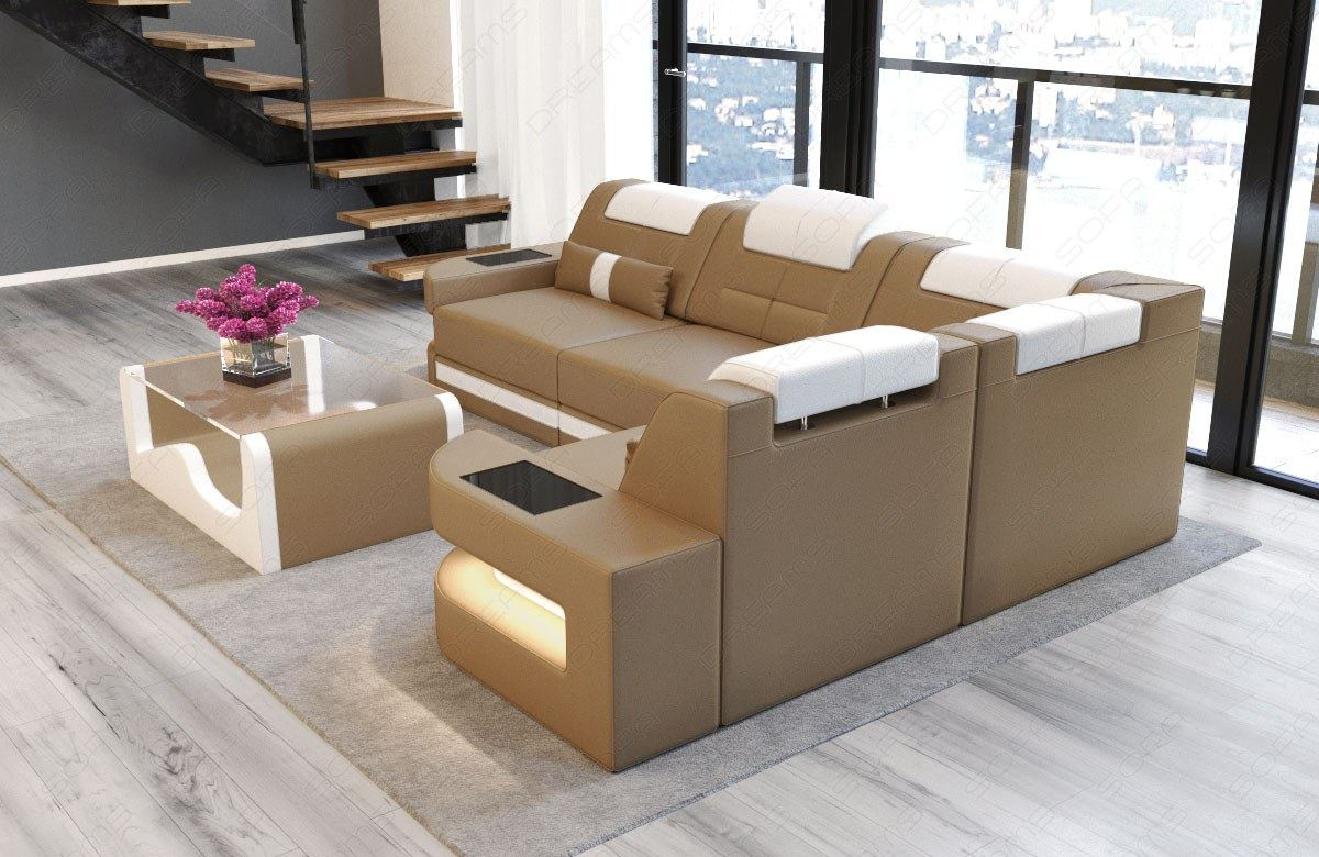 ledercouch sofa modern ecksofa couch designersofa como l form licht kopfstuetzen ebay. Black Bedroom Furniture Sets. Home Design Ideas