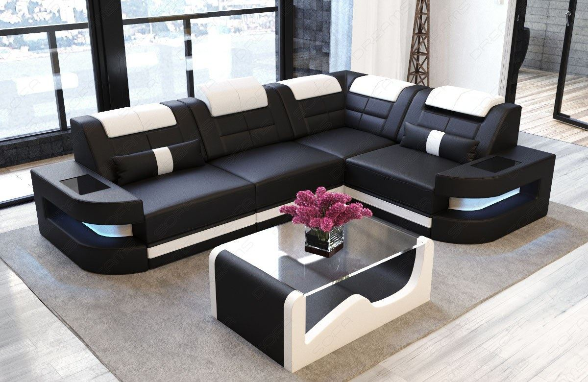 leder couch sofa schwarz weiss garnitur eckcouch como l form led beleuchtung ebay. Black Bedroom Furniture Sets. Home Design Ideas