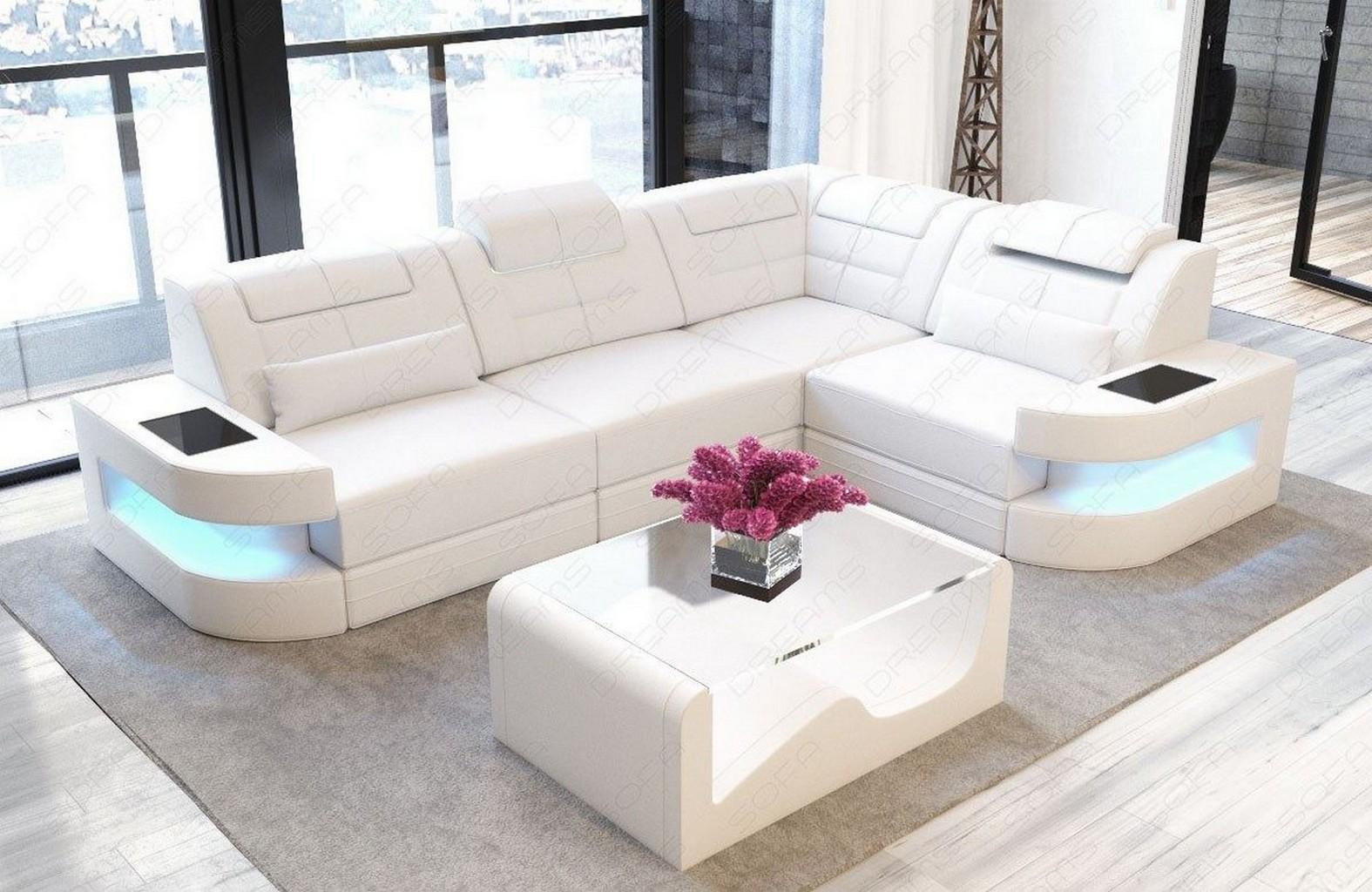 Sofa Couch Echtleder Designer weiss Luxus Couch Sofa COMO L Form LED ...