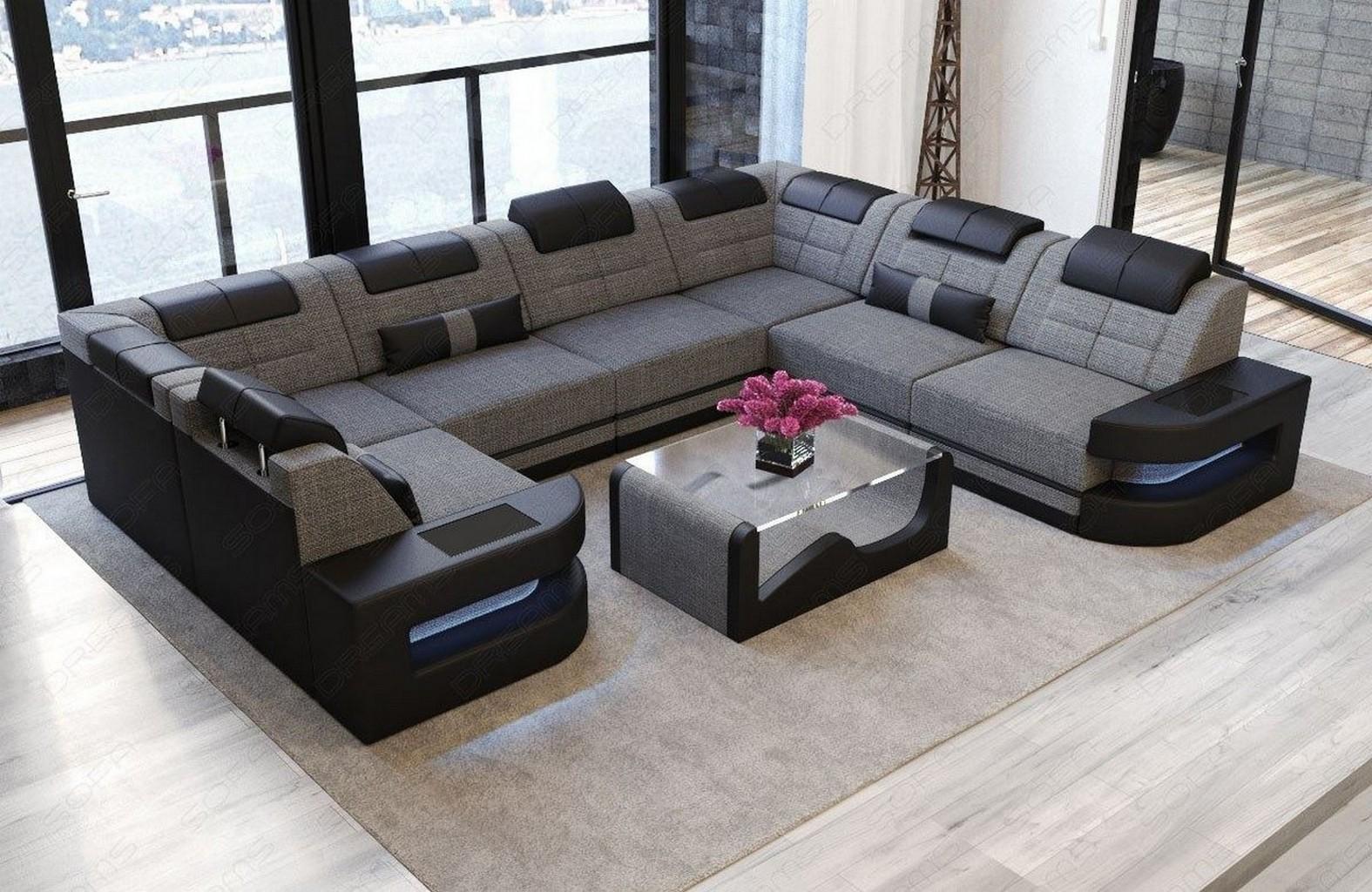 stoff wohnlandschaft como u led designer polsterecke mega. Black Bedroom Furniture Sets. Home Design Ideas