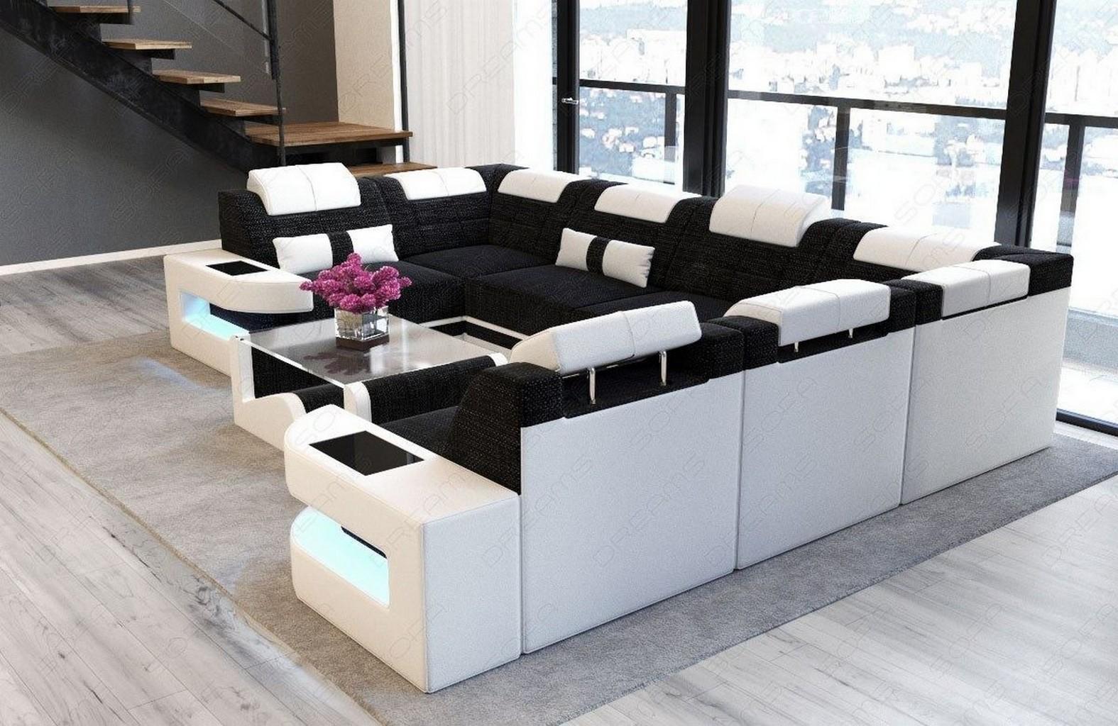 Designer luxus sofa wohnlandschaft como u polsterecke led for Wohnlandschaft u form stoff