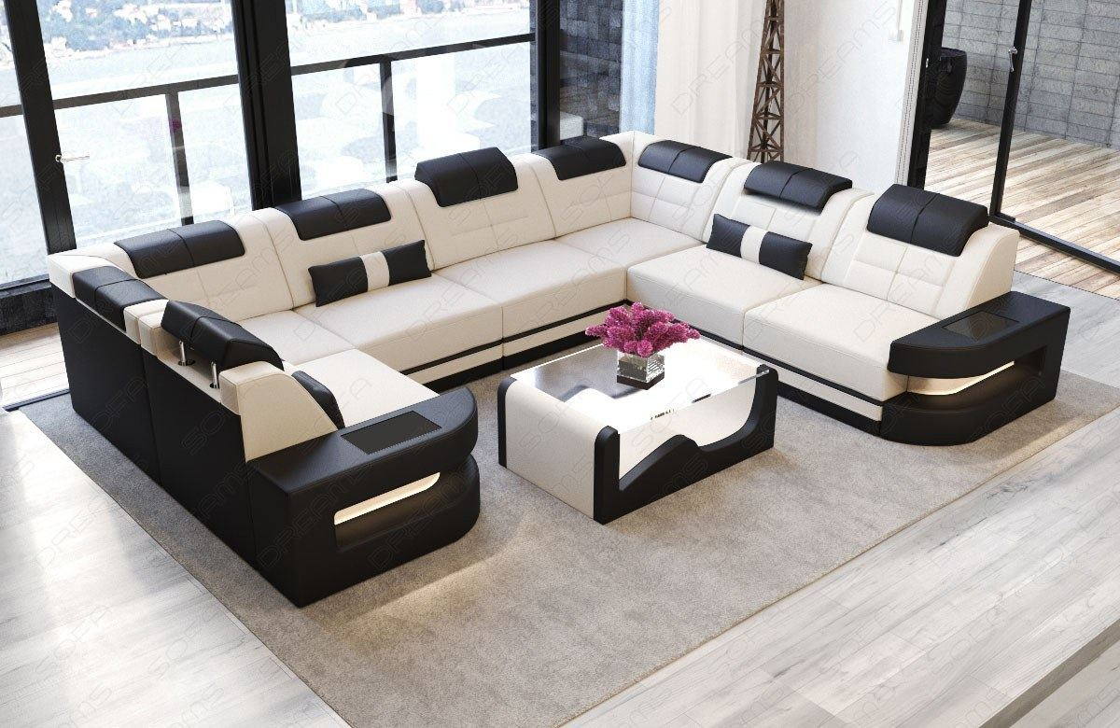 designer relax luxus couch ecksofa wohnlandschaft como u led beleuchtung creme ebay. Black Bedroom Furniture Sets. Home Design Ideas