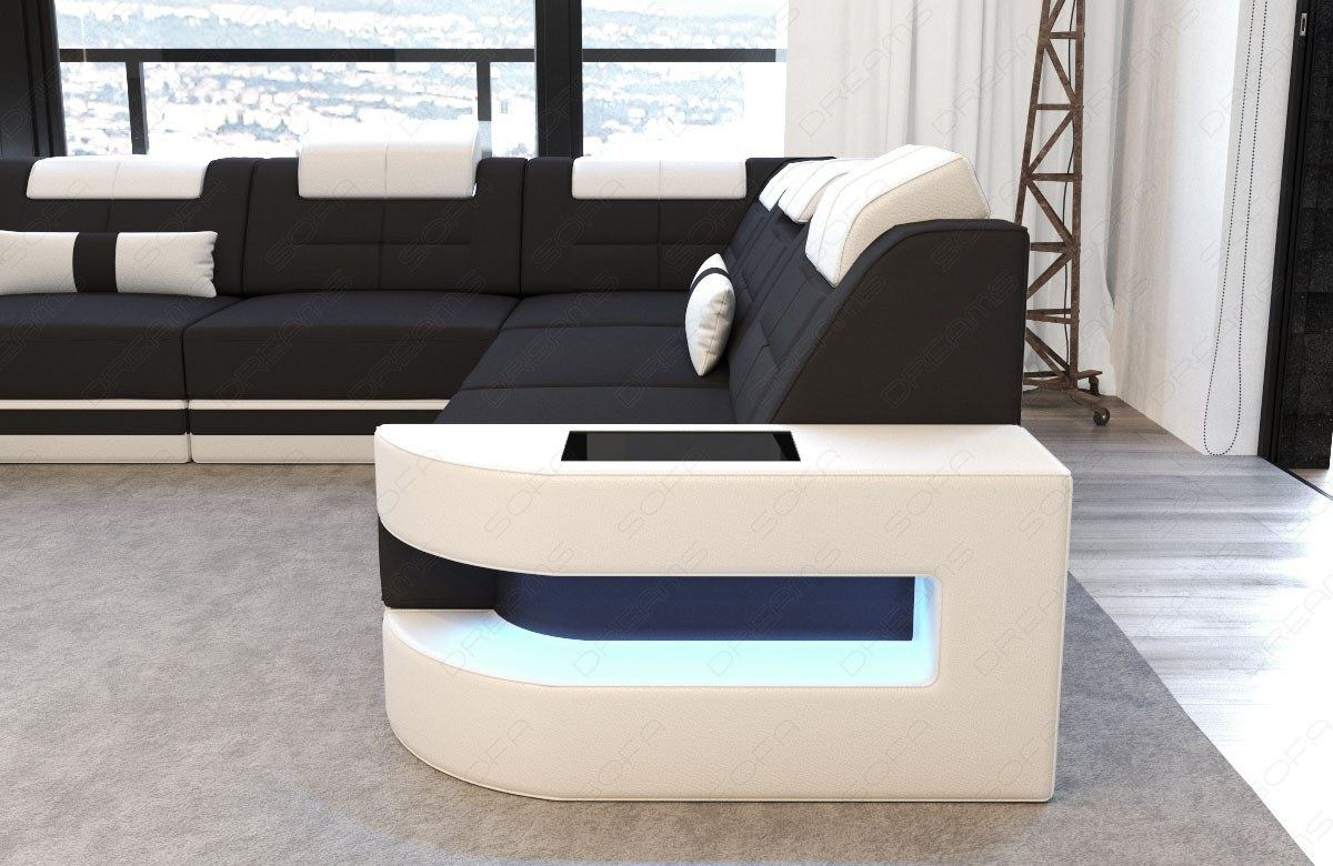 stoff wohnlandschaft como u led designer polsterecke mega stoffcouch relax sofa ebay. Black Bedroom Furniture Sets. Home Design Ideas