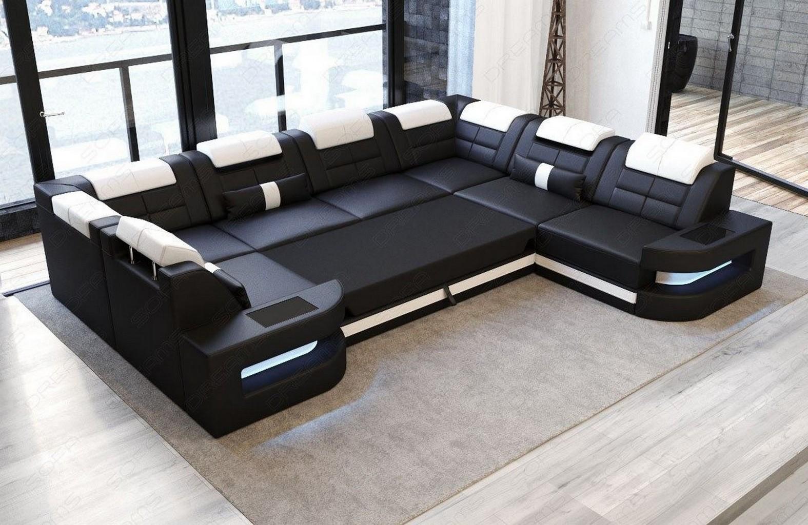 leder couch ecksofa wohnlandschaft como u led ottomane kopfst tzen verstellbar ebay. Black Bedroom Furniture Sets. Home Design Ideas