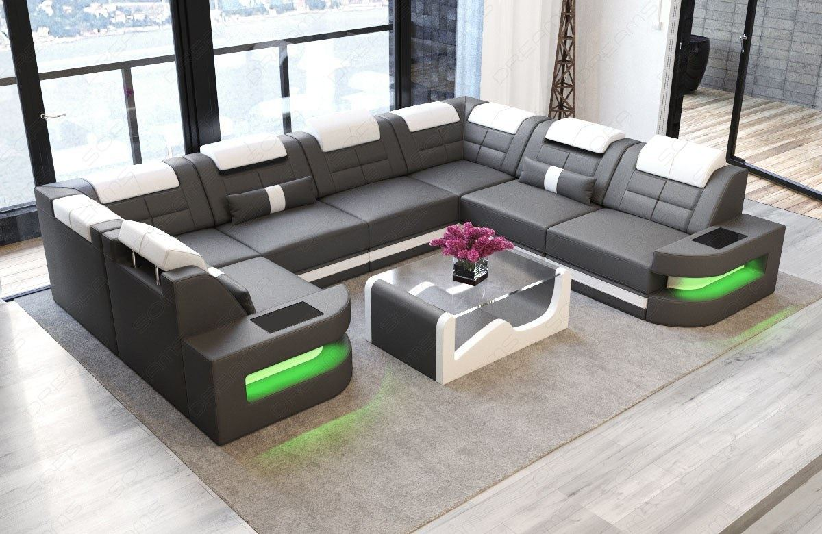 Leather Couch Corner Sofa Living Landscape Como U LED