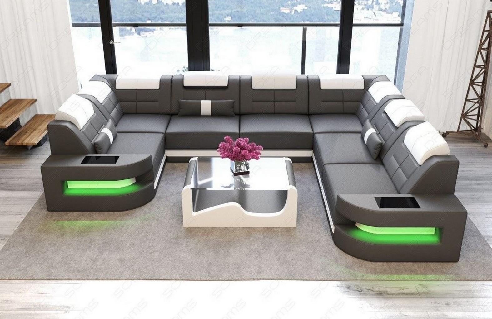ledersofa couch wohnlandschaft modern como led recamiere. Black Bedroom Furniture Sets. Home Design Ideas