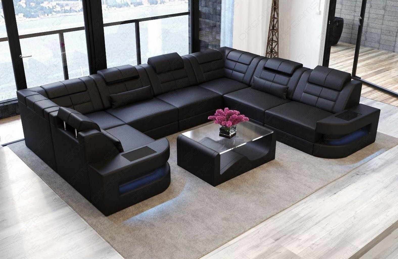 modernes leder eck sofa couch wohnlandschaft como u form led recamiere schwarz ebay