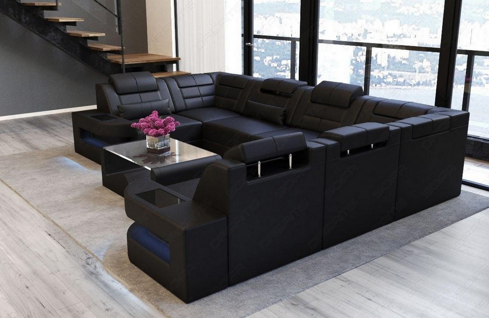 Leather Corner Sofa Couch Living Landscape Como U Shape ...