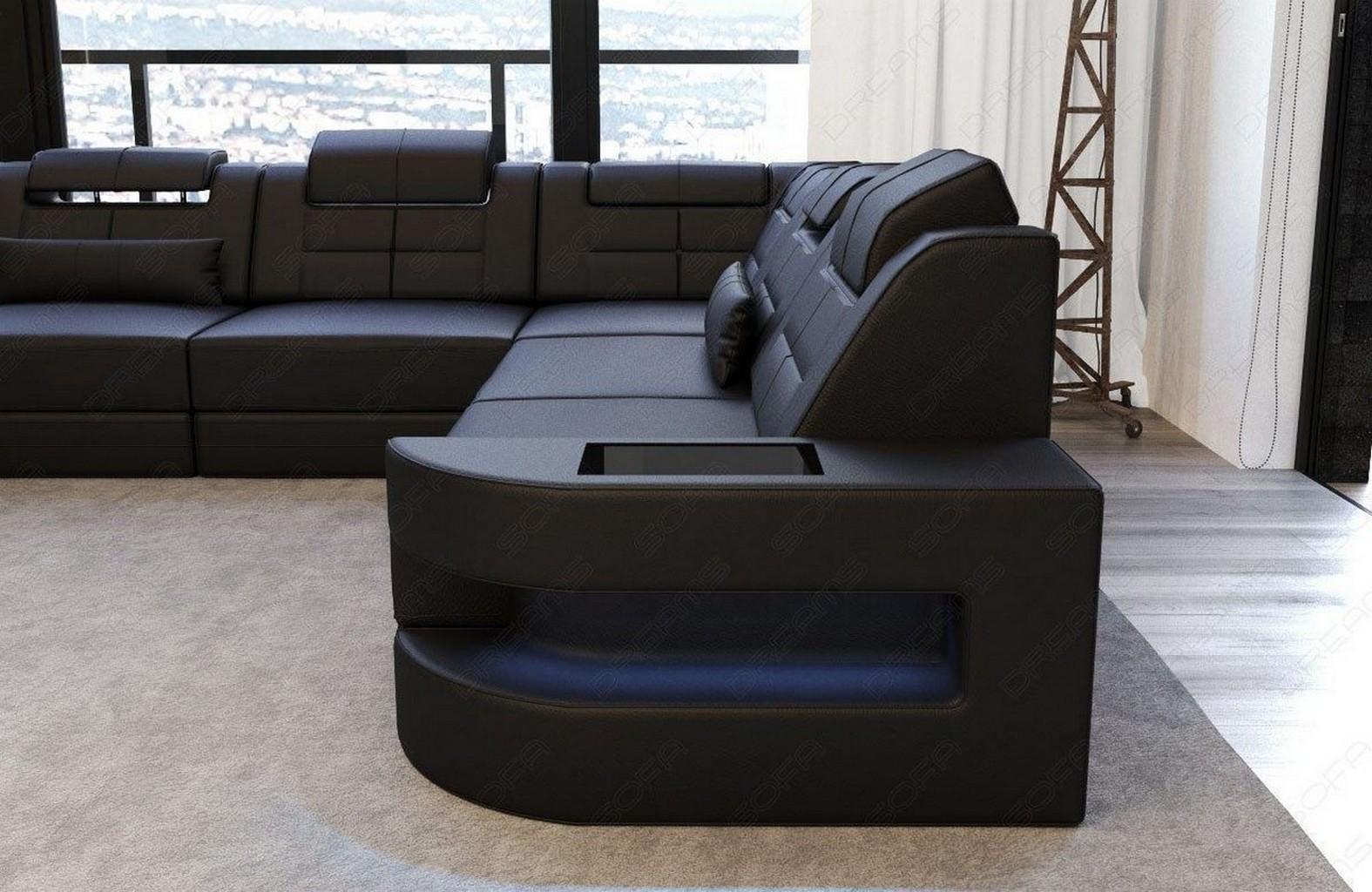 leder couch ecksofa wohnlandschaft como u led ottomane kopfst tzen verstellbar ebay