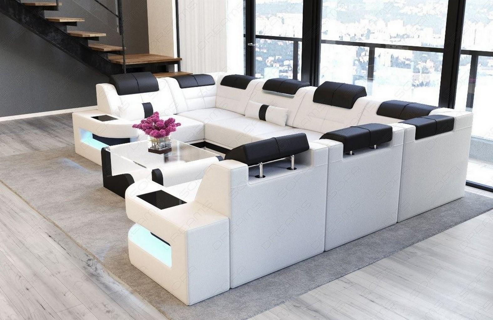 Leder couch ecksofa wohnlandschaft como u led ottomane for Wohnlandschaft schwarz kunstleder