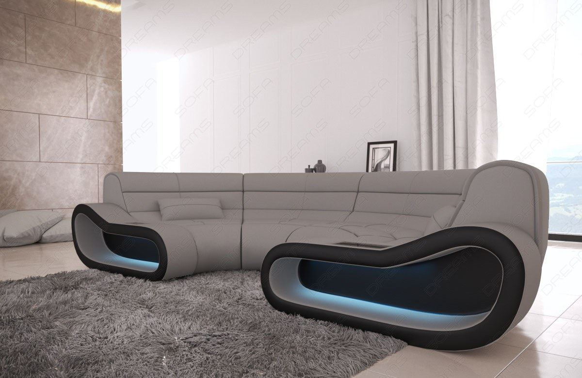 Details about Fabric Big Couch Concept C Shape Design Sofa modern Luxury  Couch LED Lights