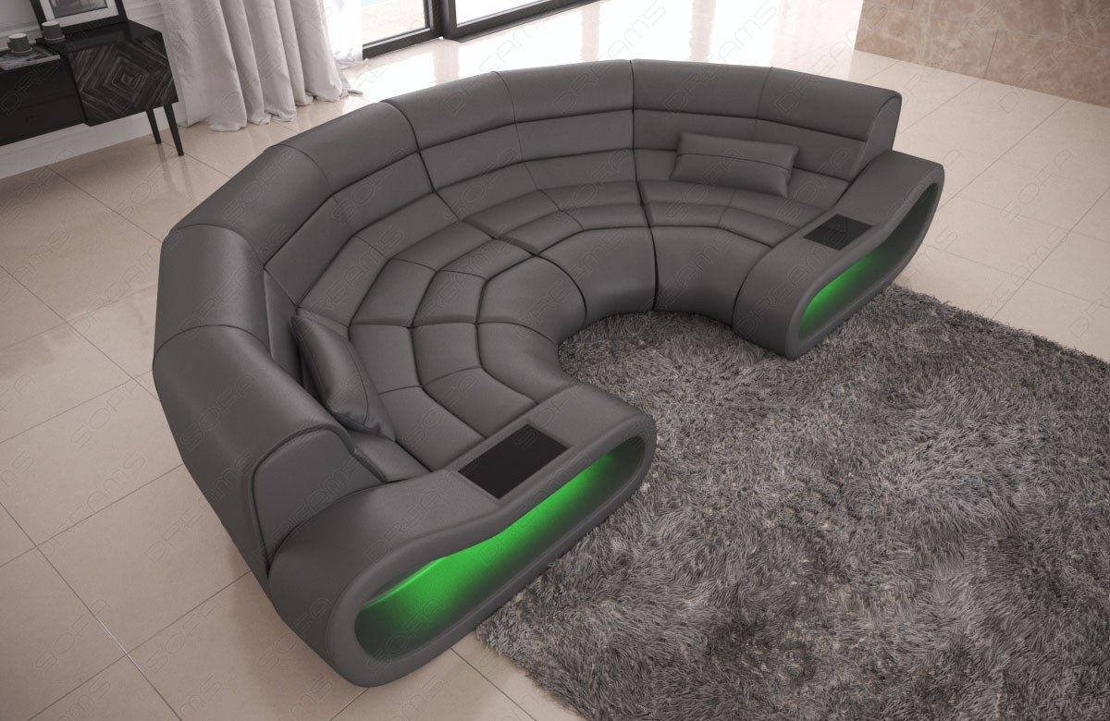 luxury big sofa concept modern design relax couch genuine leather led lights ebay. Black Bedroom Furniture Sets. Home Design Ideas