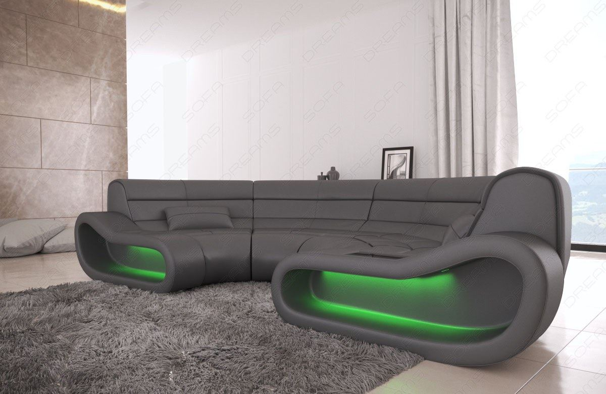 bigsofa leather couch corner sofa megasofa round modern concept with lighting ebay. Black Bedroom Furniture Sets. Home Design Ideas