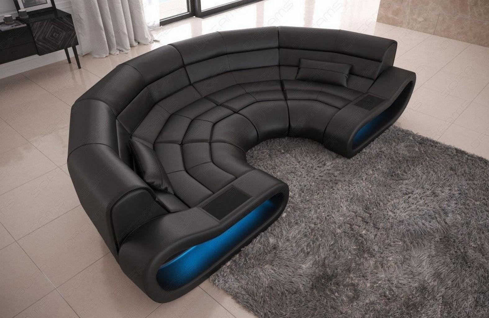 leder sofa bigsofa design couch eckcouch concept u form beleuchtung rund schwarz ebay. Black Bedroom Furniture Sets. Home Design Ideas