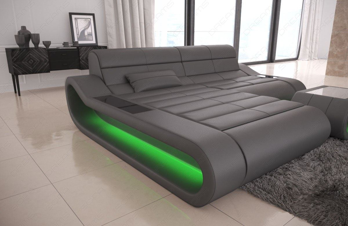 Details about Design Leather Sofa Concept L Shape short Luxury corner Couch  with LED lights