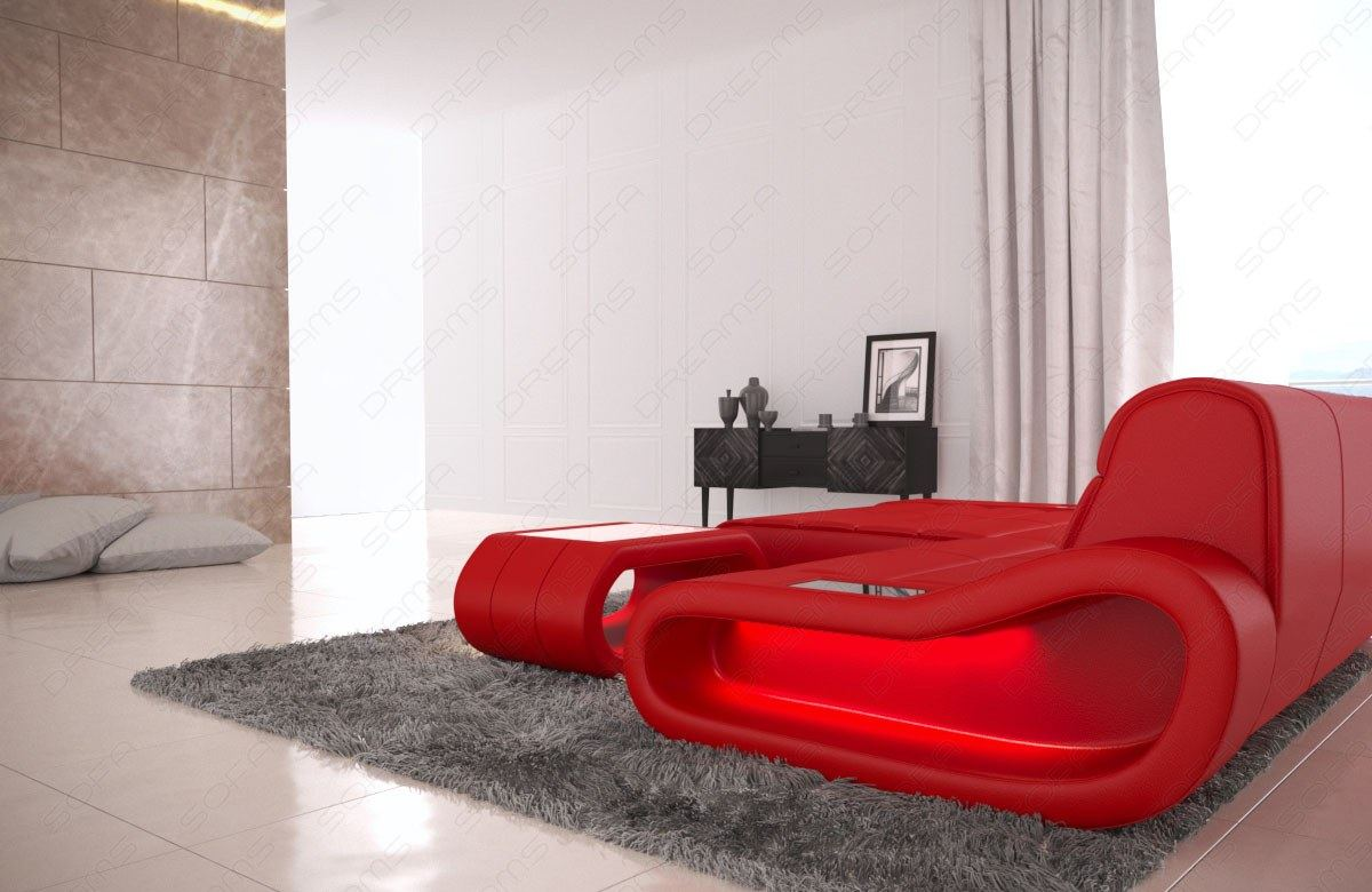 leder couch designersofa eckcouch modern ottomane concept l form beleuchtung ebay. Black Bedroom Furniture Sets. Home Design Ideas