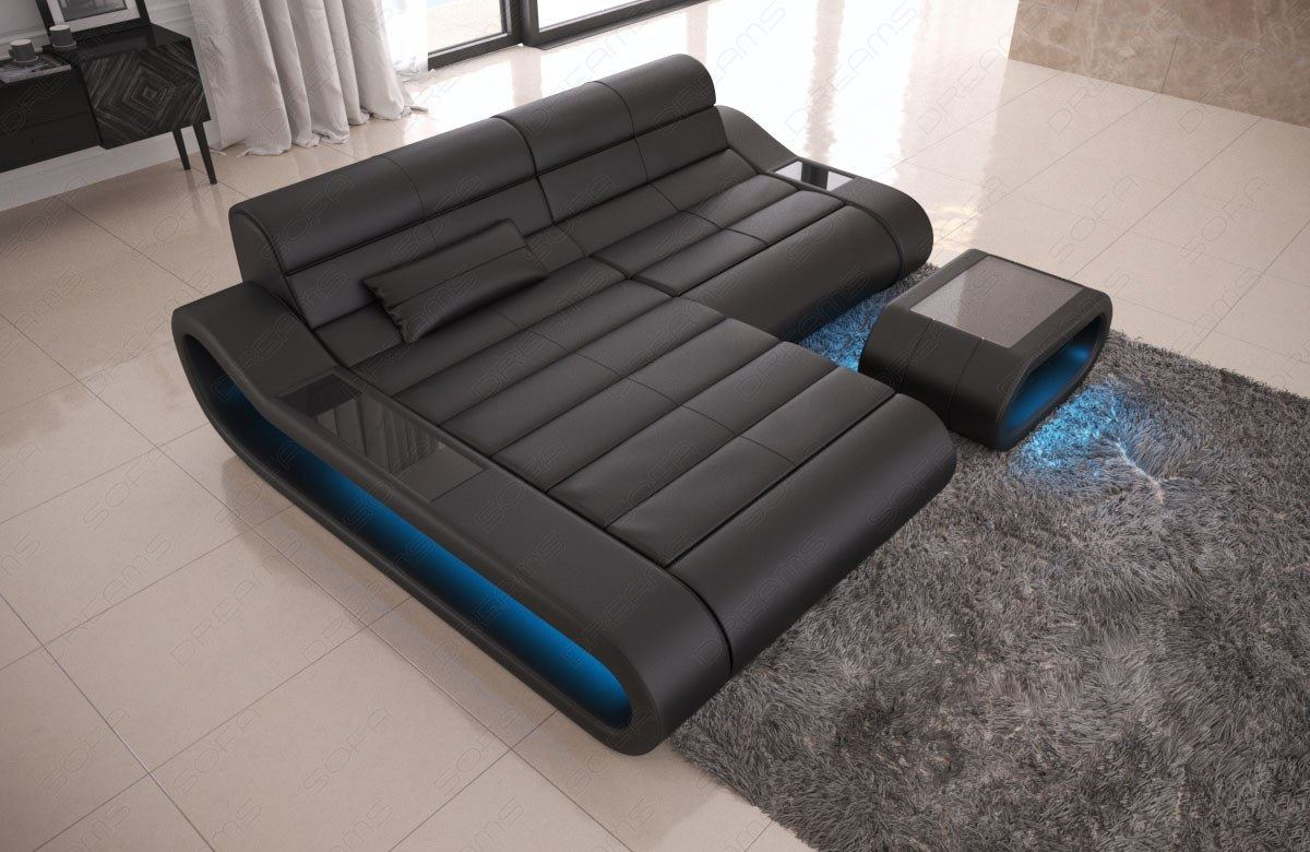leder couch designersofa eckcouch modern ottomane concept l form beleuchtung ebay. Black Bedroom Furniture Sets. Home Design Ideas