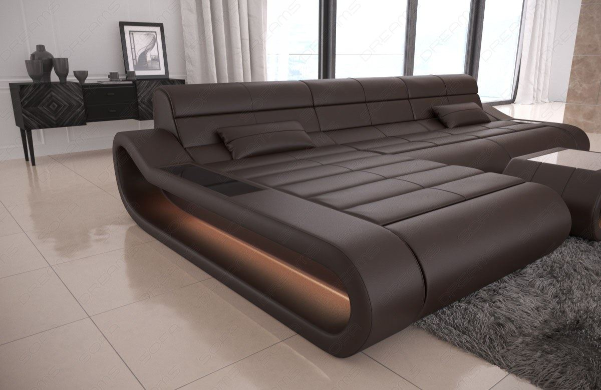 leather sofa modern designersofa eckcouch ottomans concept l shape long lighting ebay