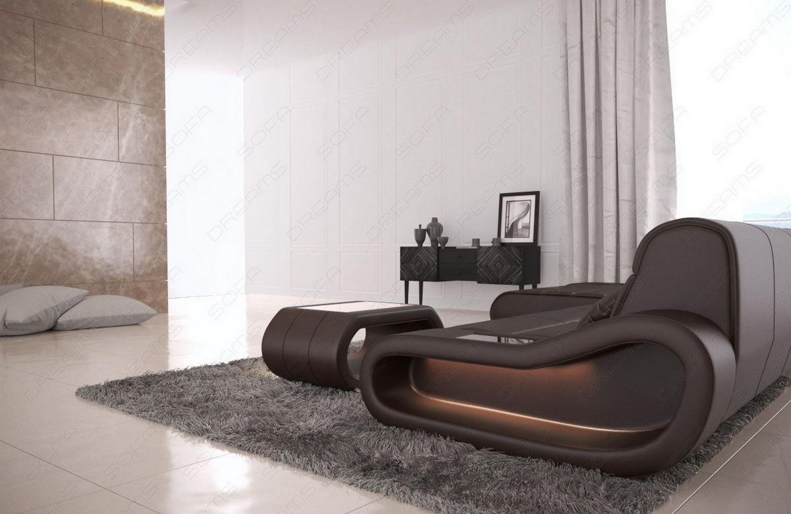leder couch designer sofa ottomane concept l form lang beleuchtung dunkelbraun ebay. Black Bedroom Furniture Sets. Home Design Ideas