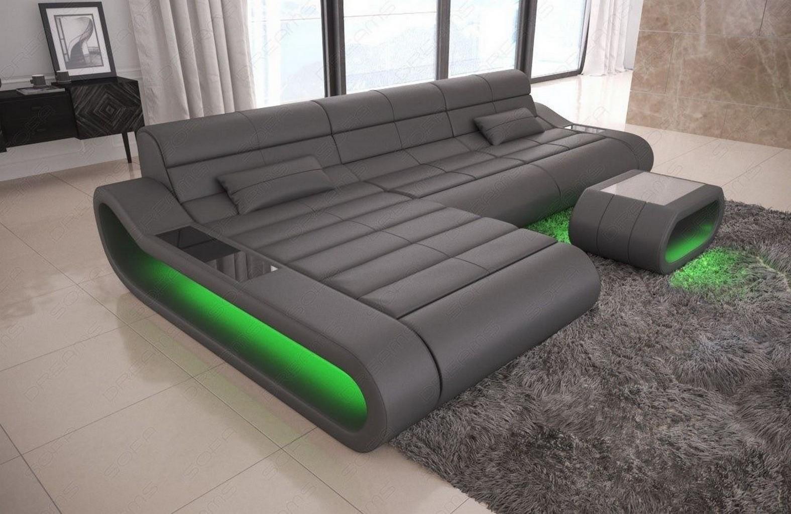 Design Leder Couch Garnitur Eckcouch Recamiere CONCEPT L Form lang ...