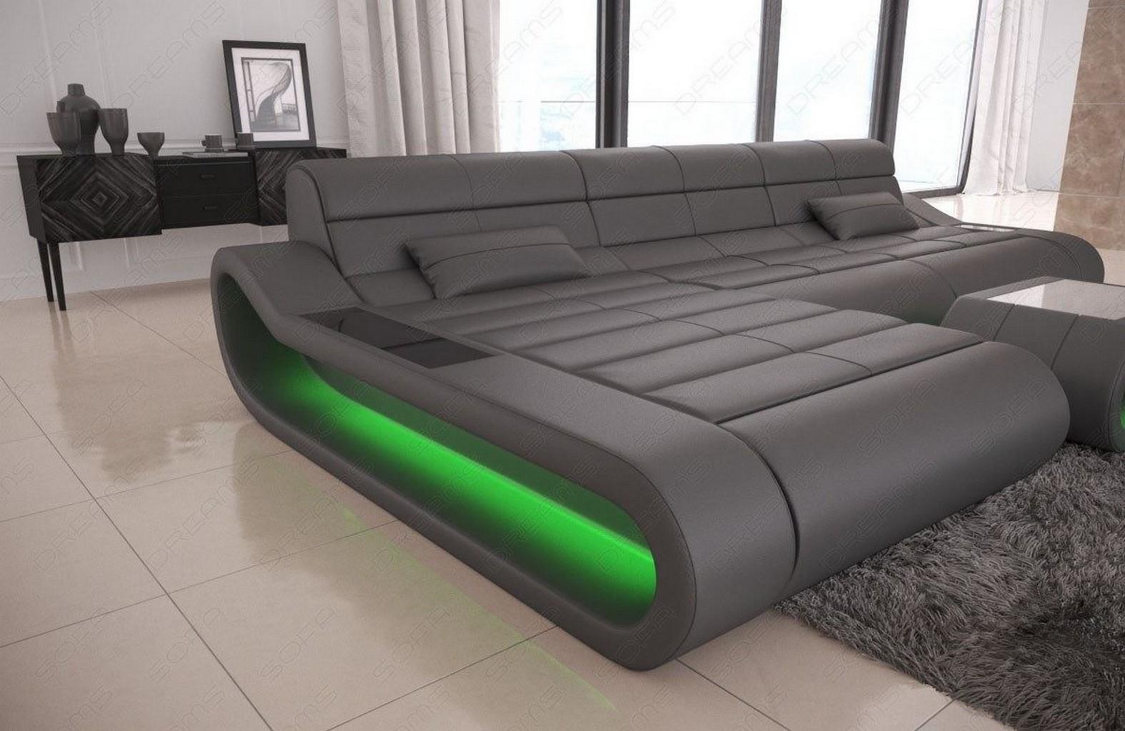 design leder couch garnitur eckcouch recamiere concept l. Black Bedroom Furniture Sets. Home Design Ideas