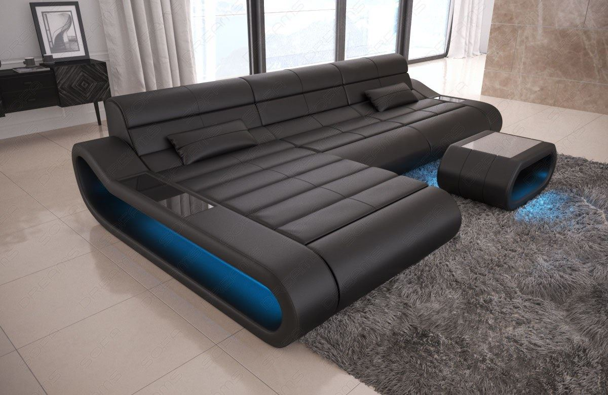 Leather Sofa Modern Designersofa Corner Couch Ottoman Concept L Shaped Long Ebay