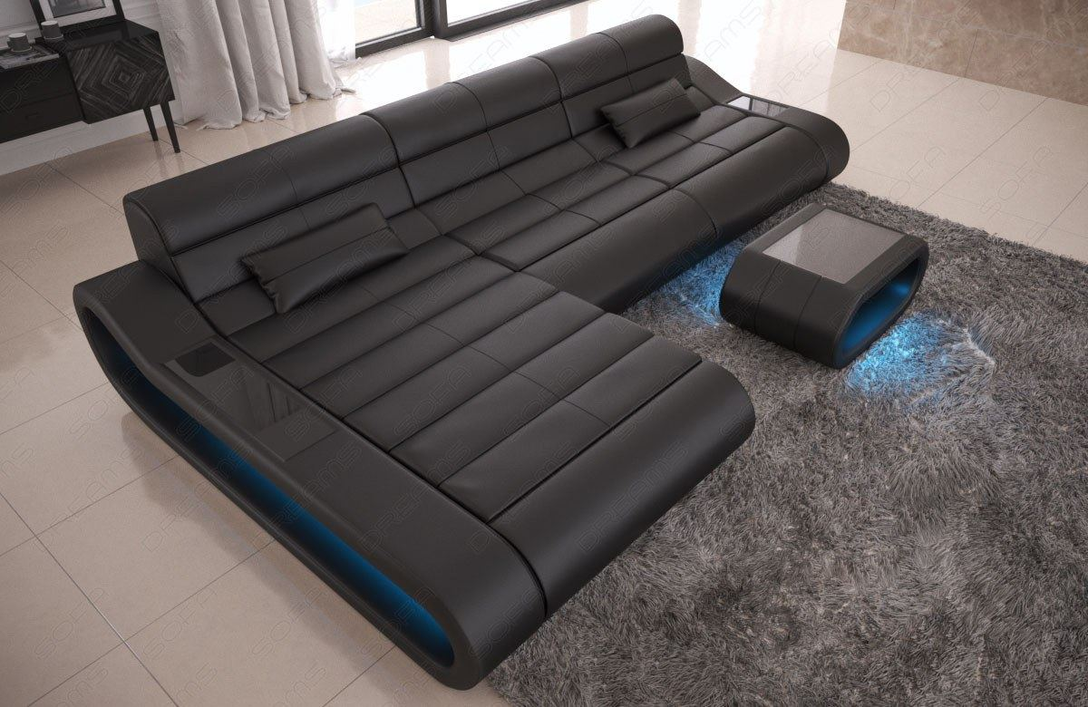 Leather sofa modern designersofa corner couch ottoman for Ecksofa couch