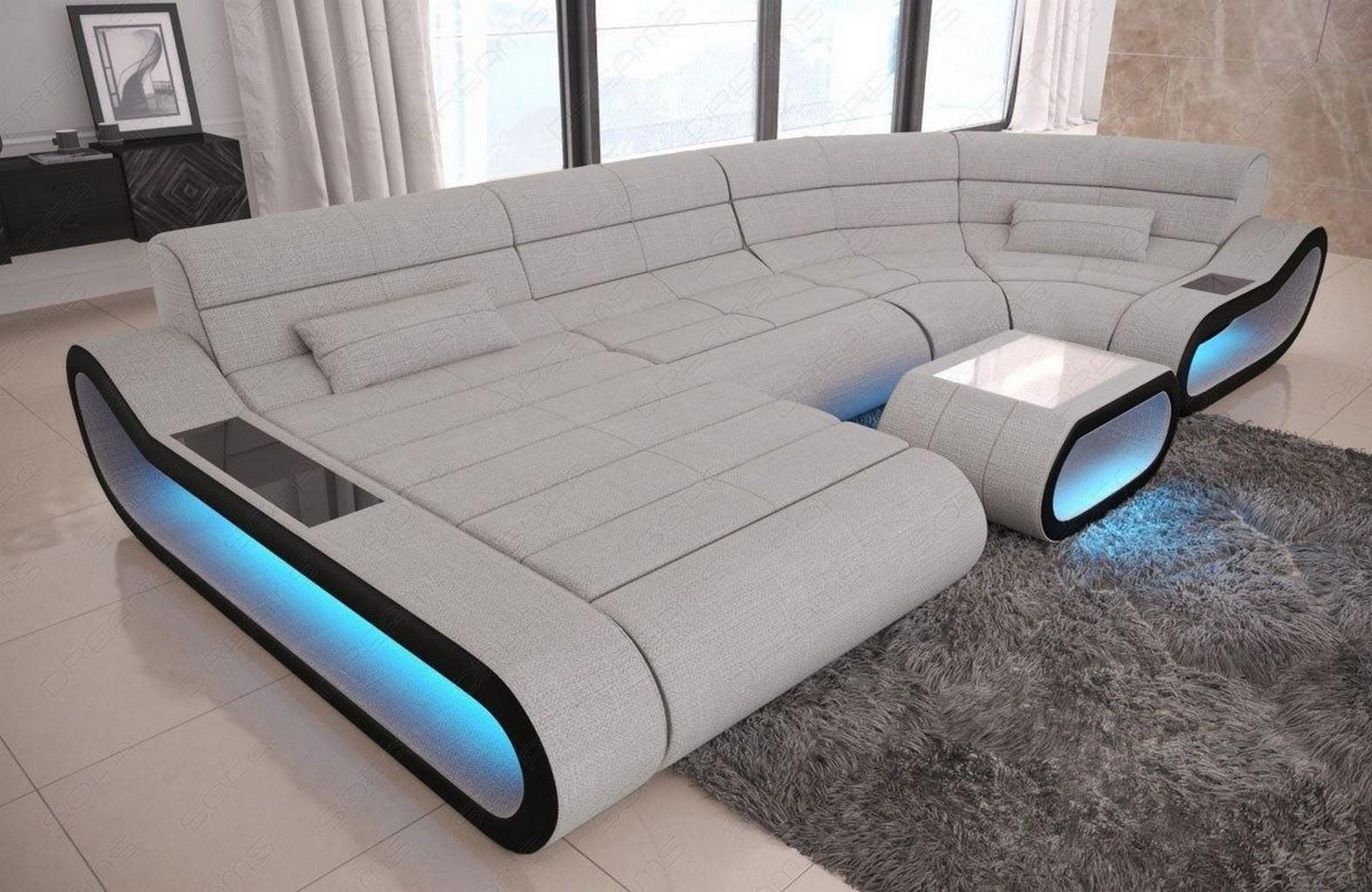 wohnlandschaft stoff leder mix ecksofa concept u form. Black Bedroom Furniture Sets. Home Design Ideas