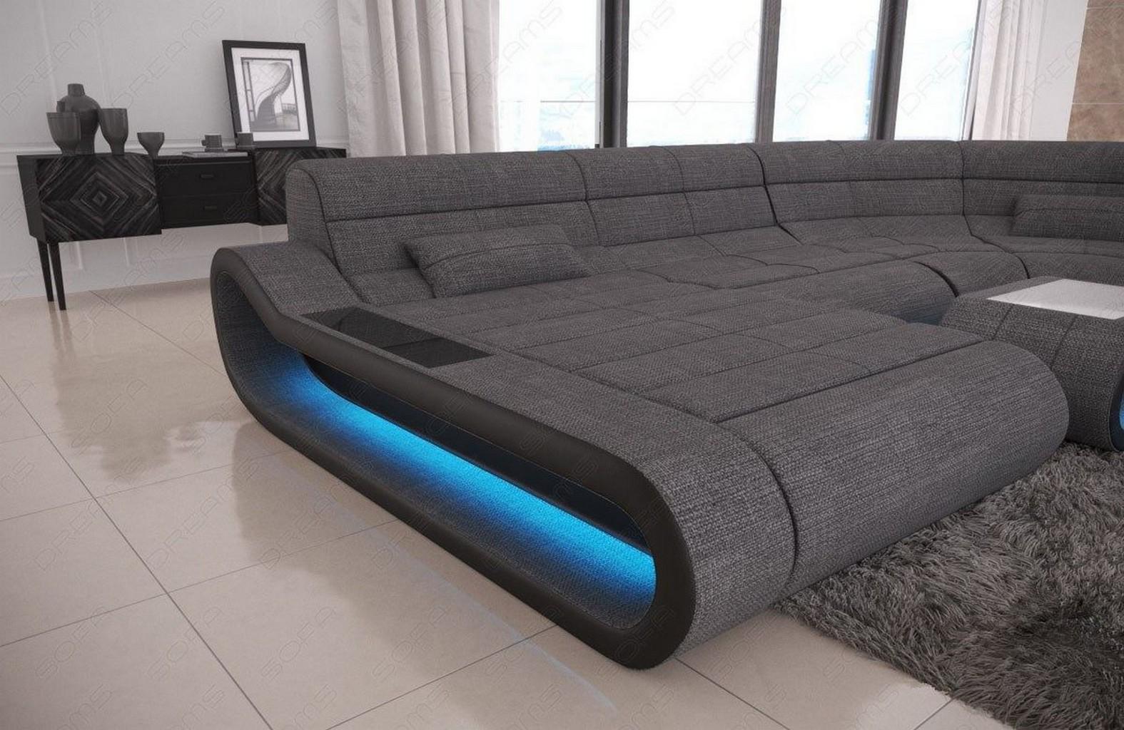 Wohnlandschaft design stoff  Stoff Eckcouch CONCEPT U Form Wohnlandschaft Design Sofa in grau LED ...