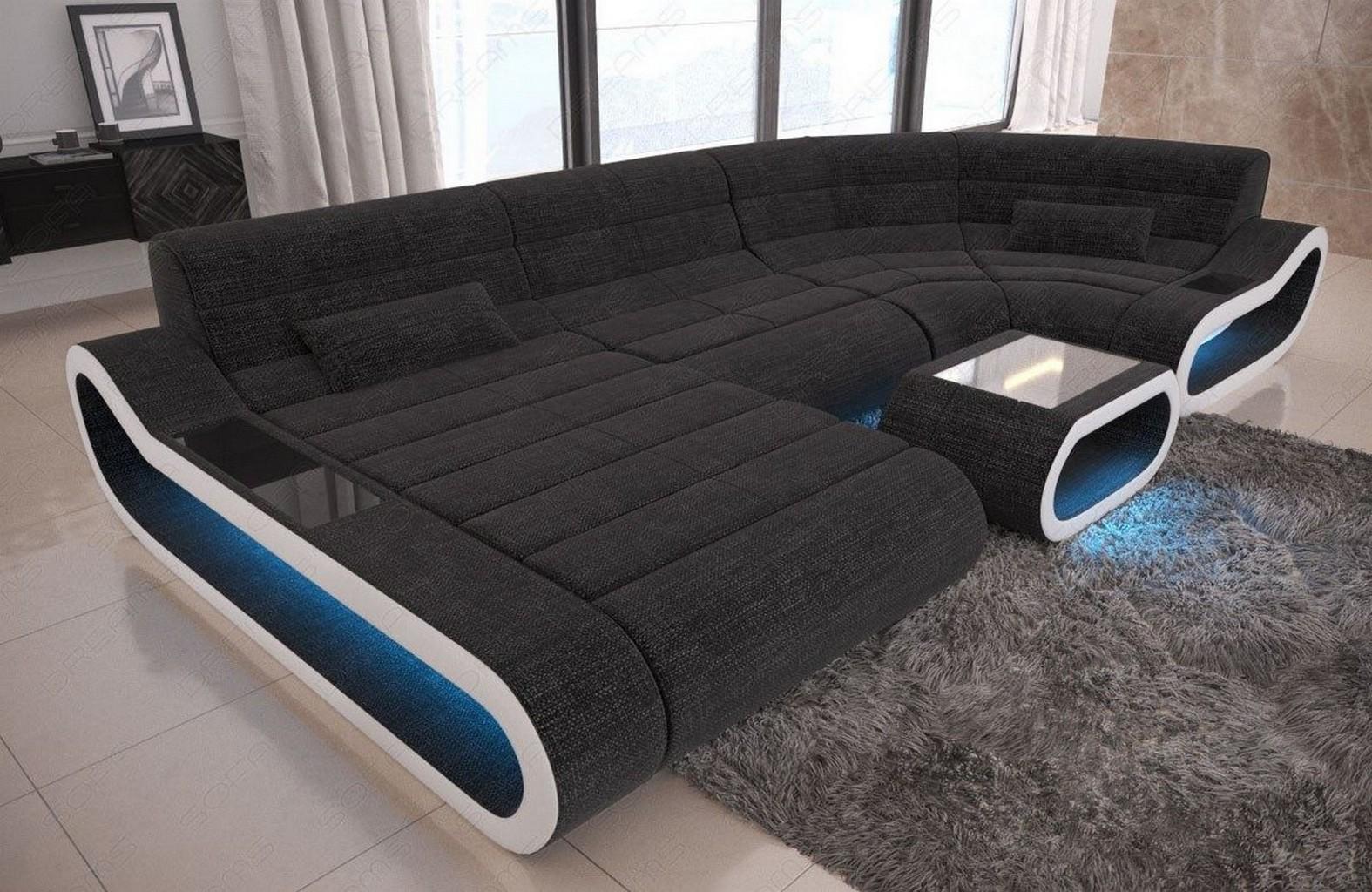 Sofa Stoff Couch Wohnlandschaft Concept U Form Schwarz Grau