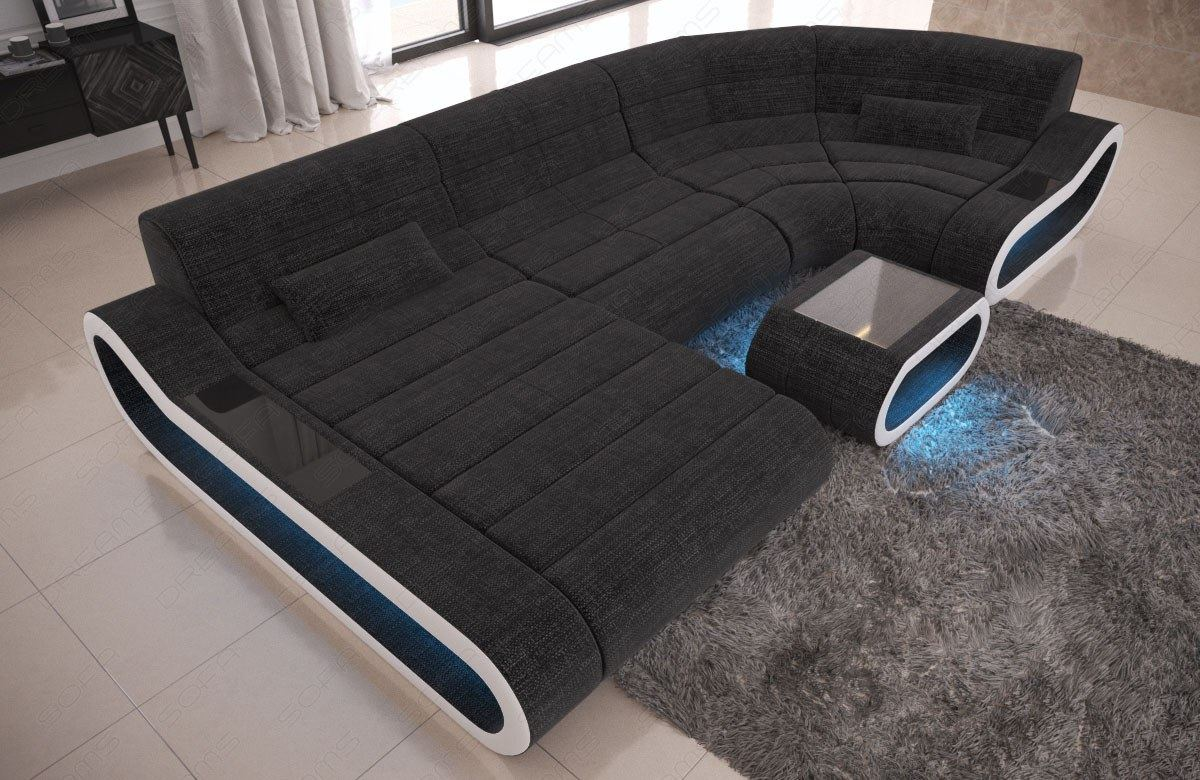 Fabric Big Concept U Shape Sectional Luxury Sofa Design Couch Led Light