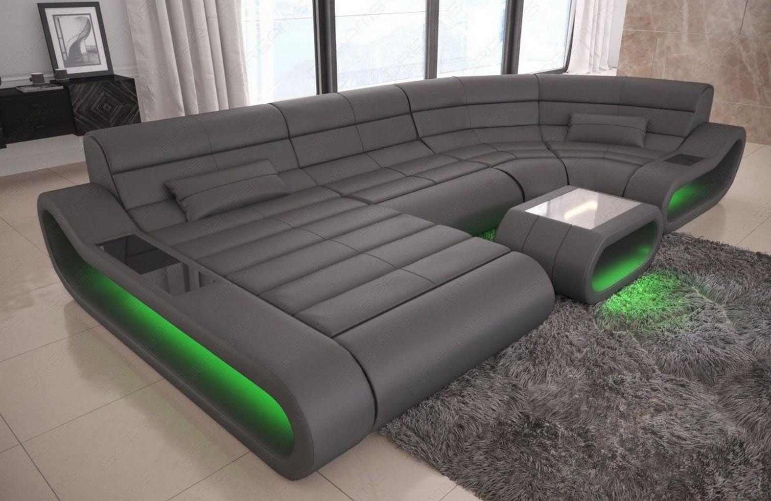 Leder couch sofa design wohnlandschaft grau ottomane for Couch grau u form