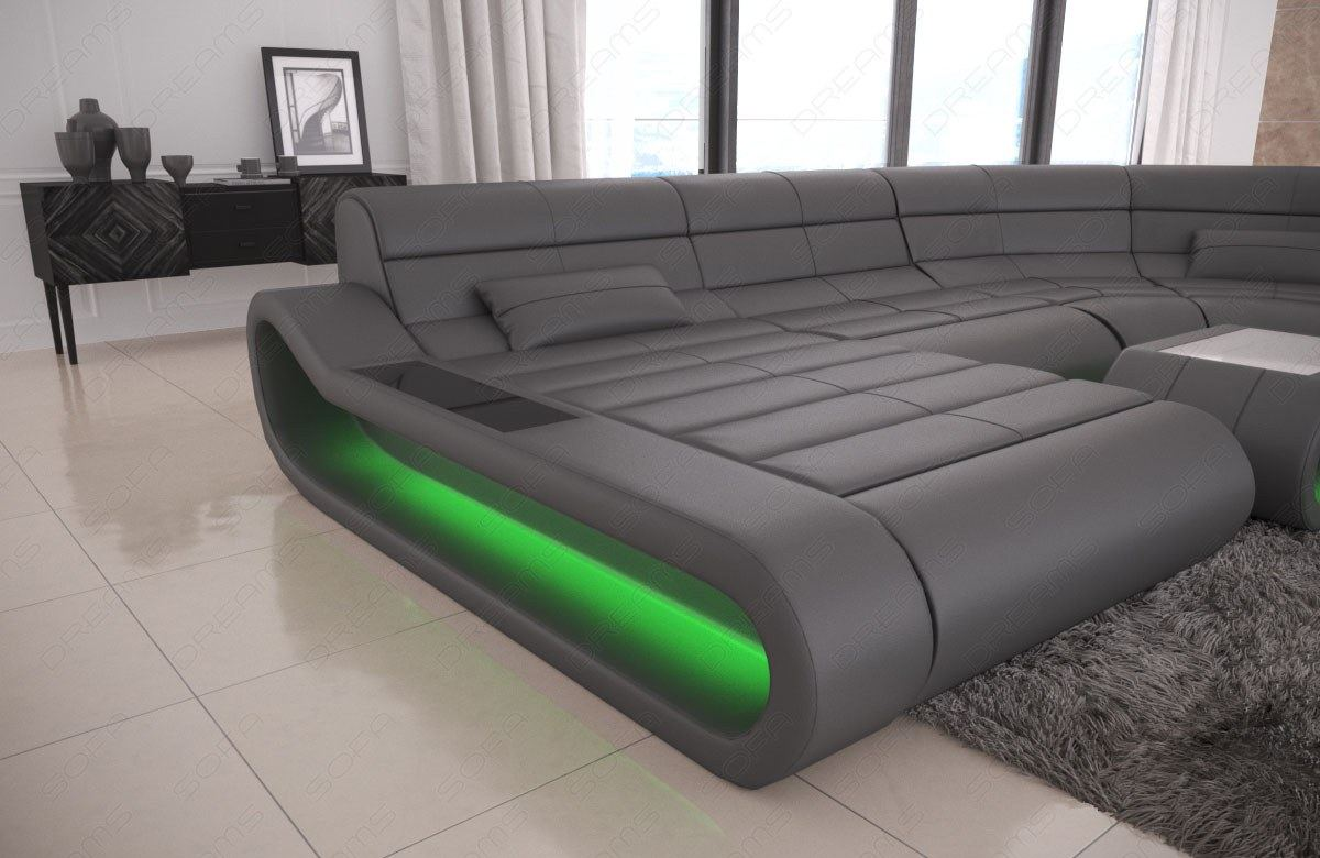 leder couch sofa design wohnlandschaft grau ottomane concept u form beleuchtung ebay. Black Bedroom Furniture Sets. Home Design Ideas