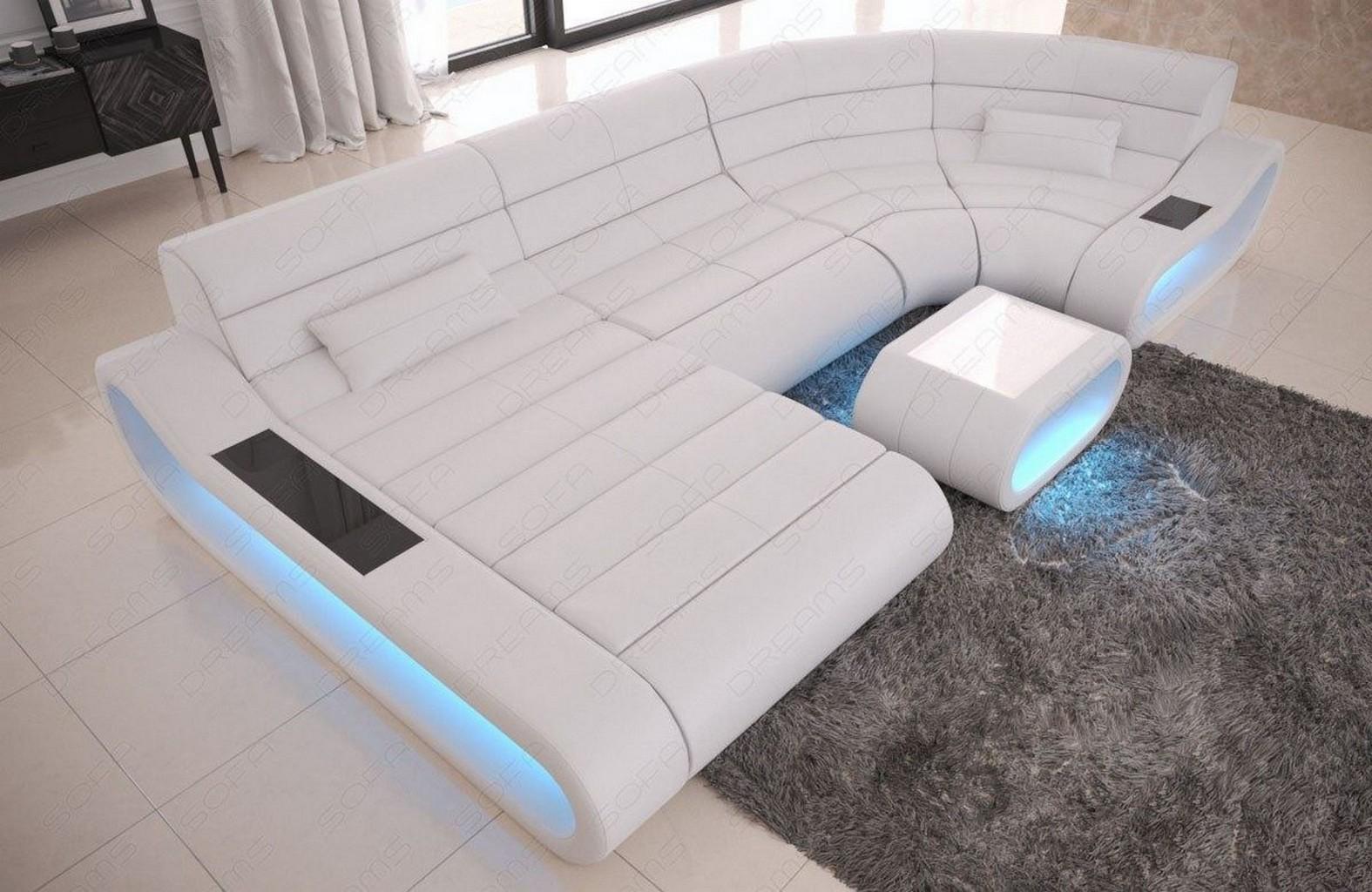 Wohnlandschaft Leder Sofa Eck Couch Ottomane Concept U Form