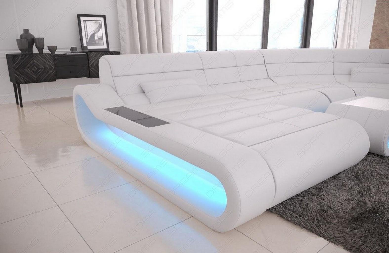 Wohnlandschaft Leder Sofa Eck Couch Ottomane CONCEPT U Form ...