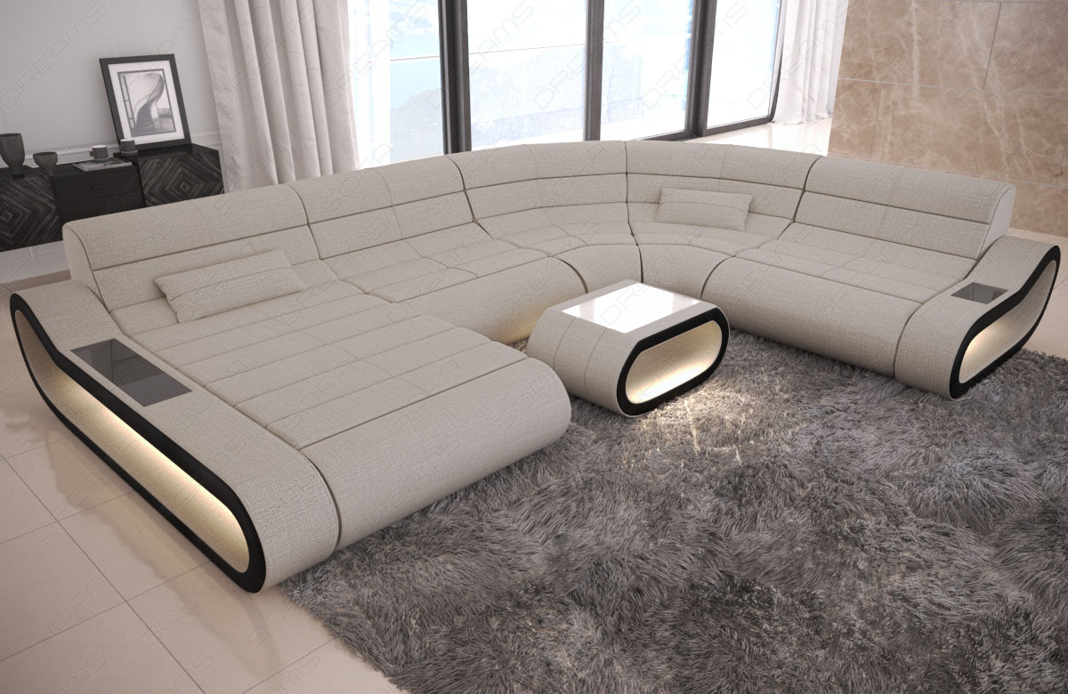 Fabric Sectional Sofa Designer Couch Concept XL Shape Recamiere LED ...