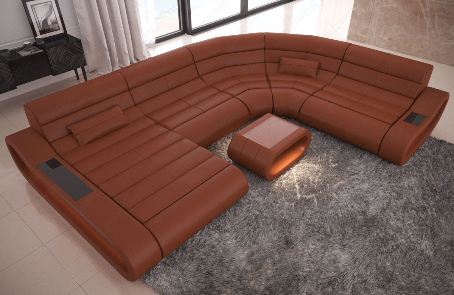 Sofa Couch XXL Echtleder Garnitur CONCEPT Ottomane Beleuchtung große ...