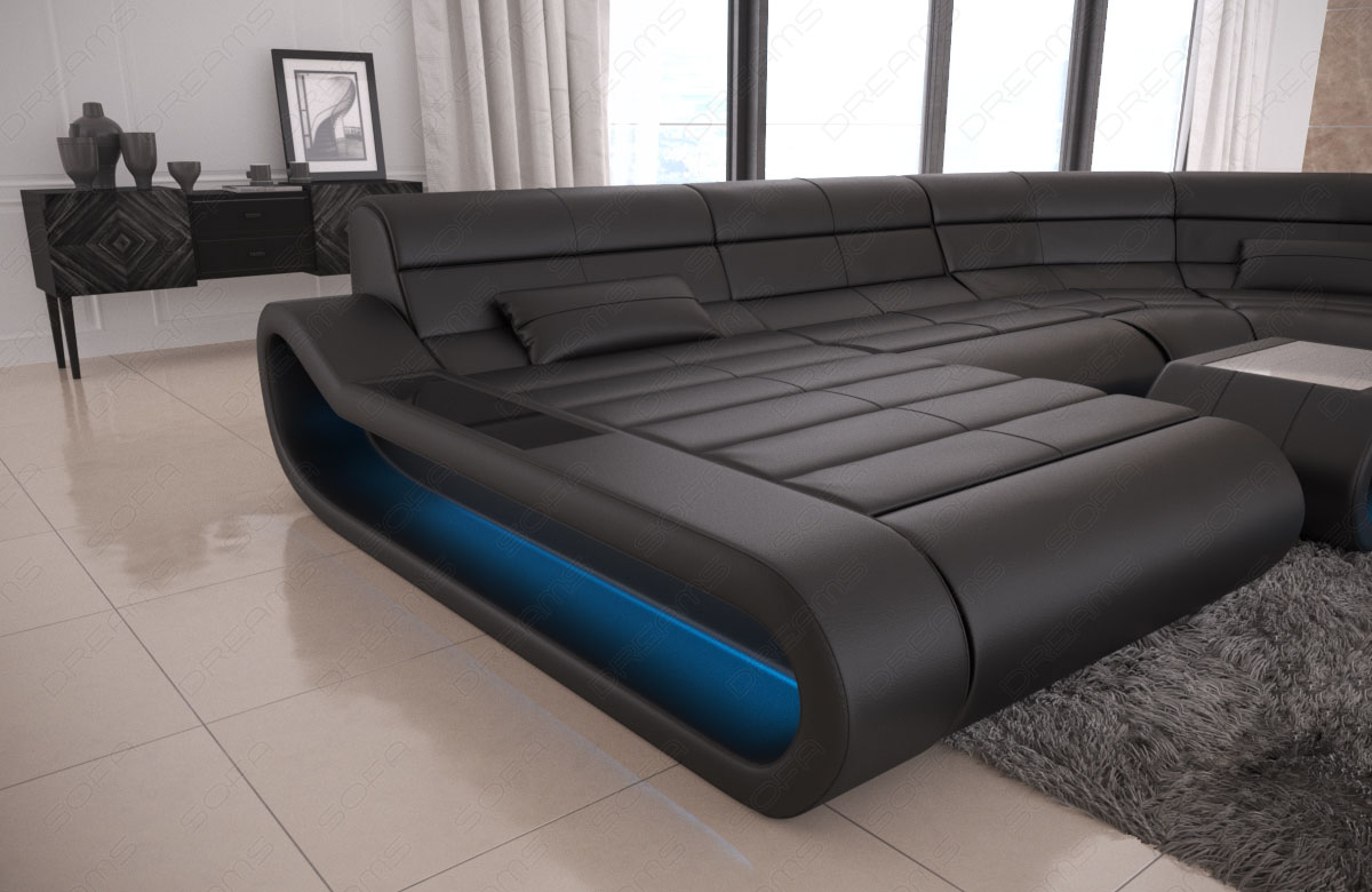 Wohnlandschaft Leder Bigsofa Couch Ecksofa Ottomane Concept Xxl Led
