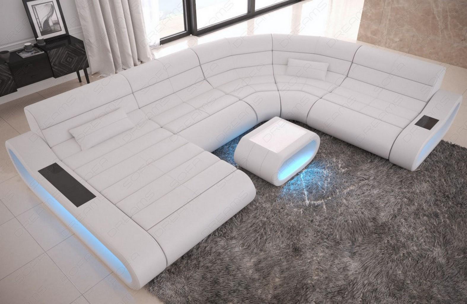 sofa couch xxl echtleder garnitur concept ottomane beleuchtung gro e sitzfl chen ebay. Black Bedroom Furniture Sets. Home Design Ideas