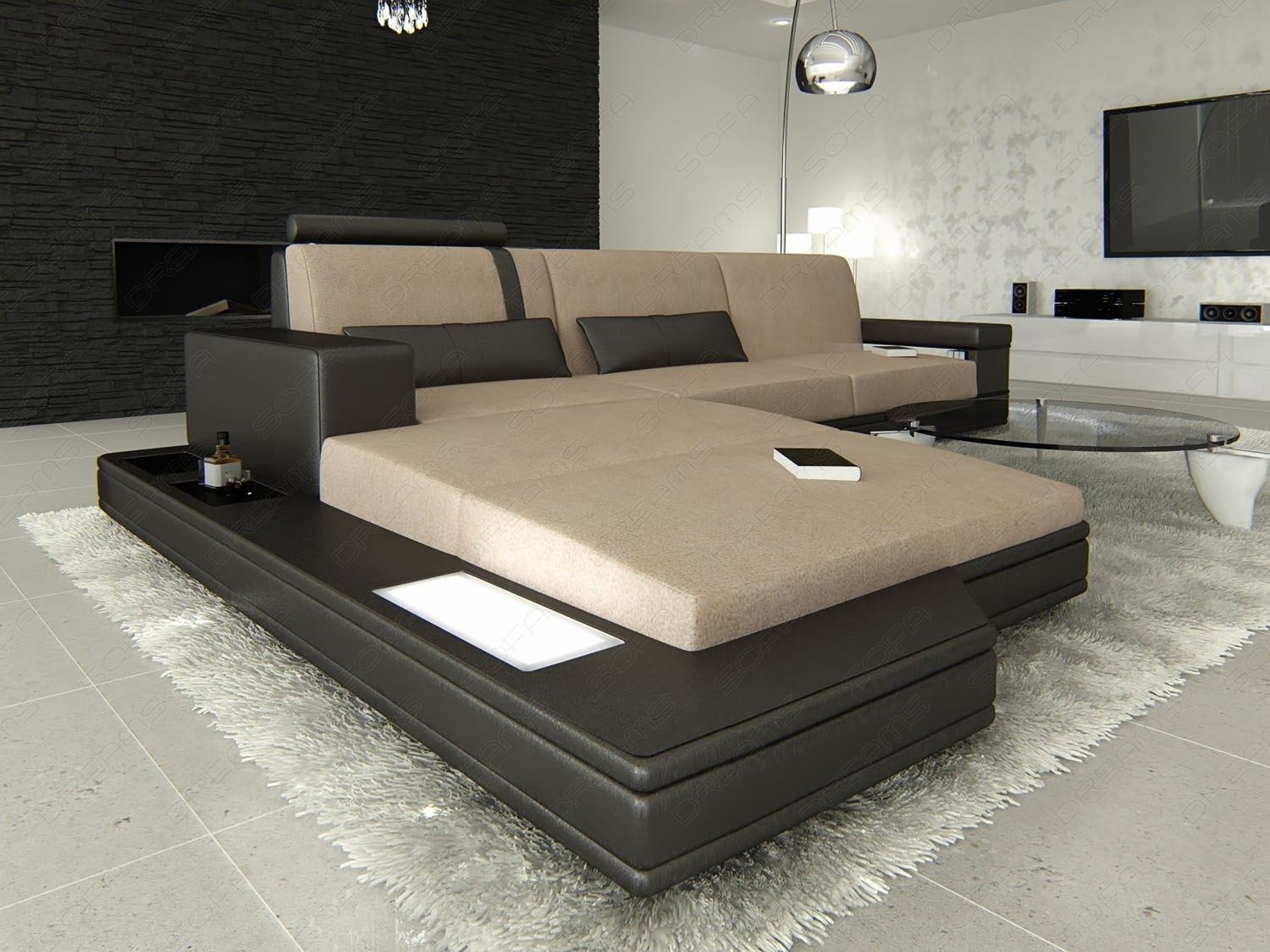 stoffsofa messana l form licht materialmix schwarz hellbraun ebay. Black Bedroom Furniture Sets. Home Design Ideas