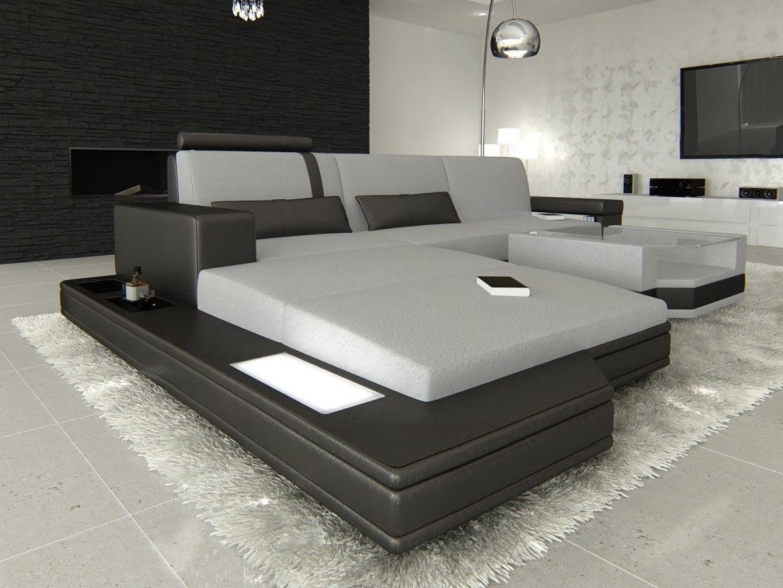 stoffsofa messana l form materialmix mineva stoff grau sofa mit led beleuchtung ebay. Black Bedroom Furniture Sets. Home Design Ideas