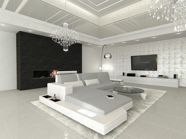 Fabric Sofa Messana L Form New Look Fabric Light Grey Sofa With Led Lighting Rgb Ebay