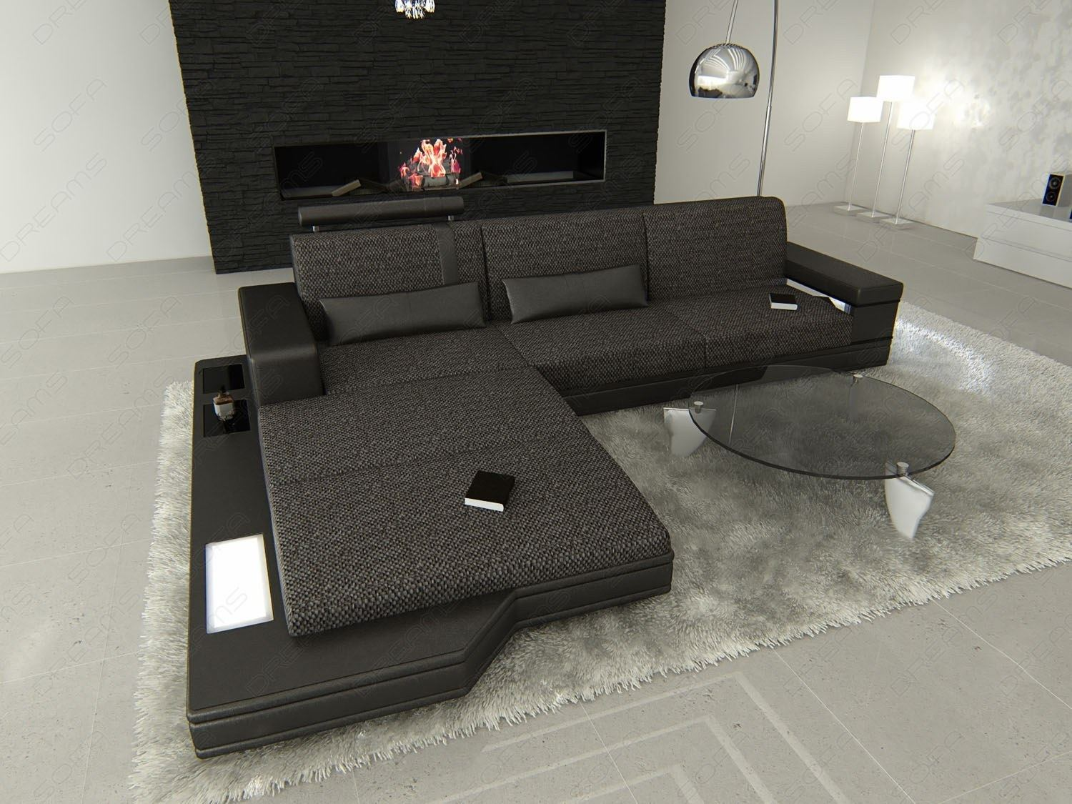 fabric sectional sofa messana l shaped with lights. Black Bedroom Furniture Sets. Home Design Ideas
