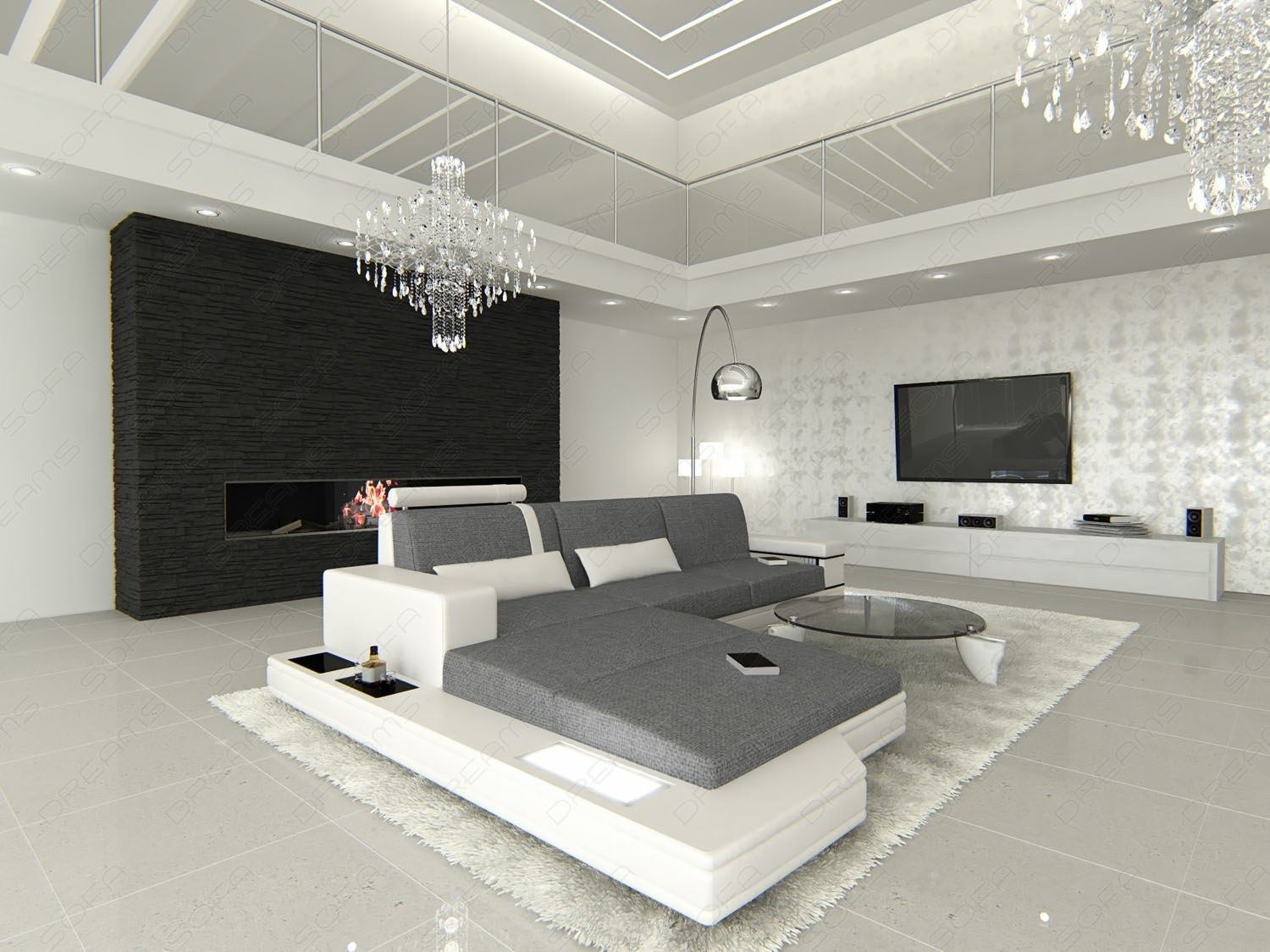 fabric sectional sofa messana l shaped with lighting. Black Bedroom Furniture Sets. Home Design Ideas