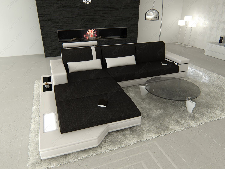 stoffsofa messana l form polstersofa mix leder stoff wohnlandschaft design couch ebay. Black Bedroom Furniture Sets. Home Design Ideas