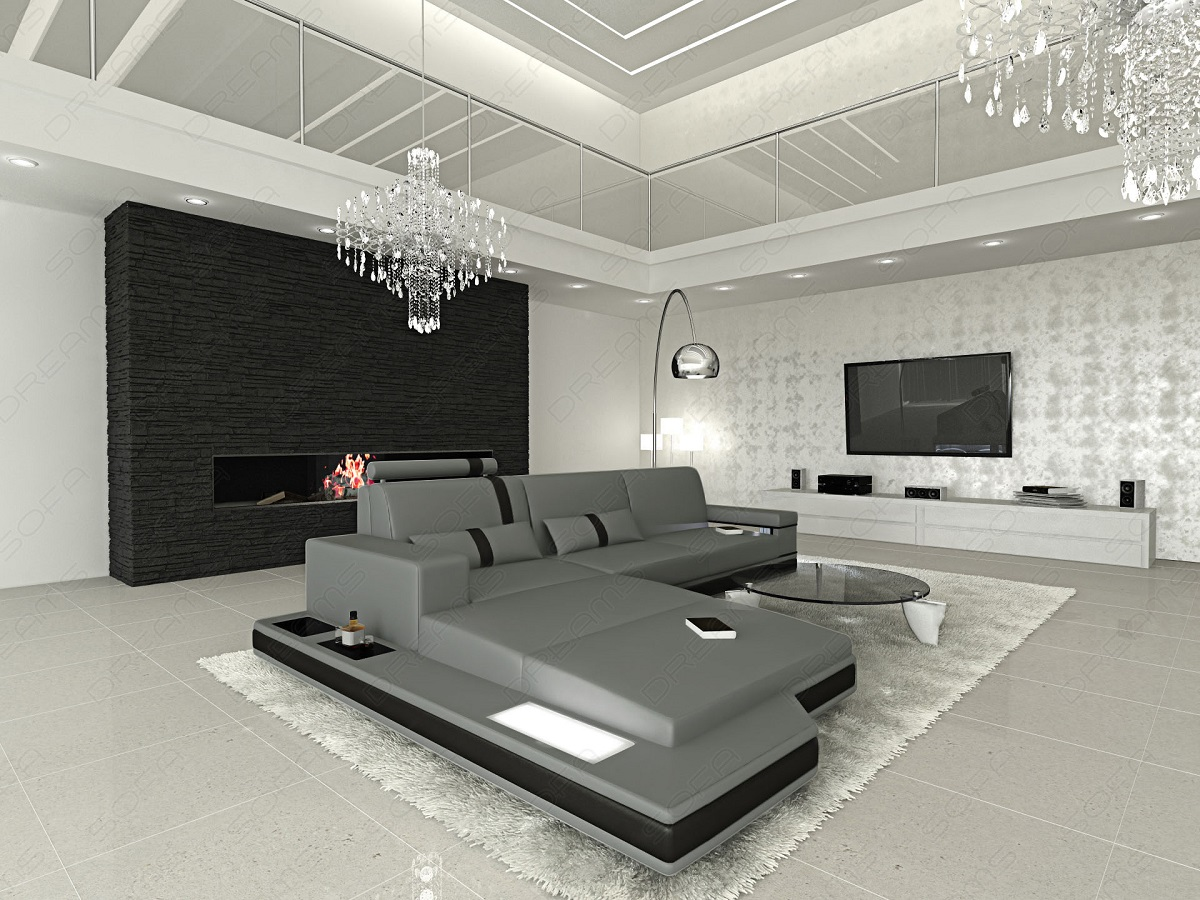 couch set messana l shaped with led lighting design leather sofa corner sofa ebay. Black Bedroom Furniture Sets. Home Design Ideas