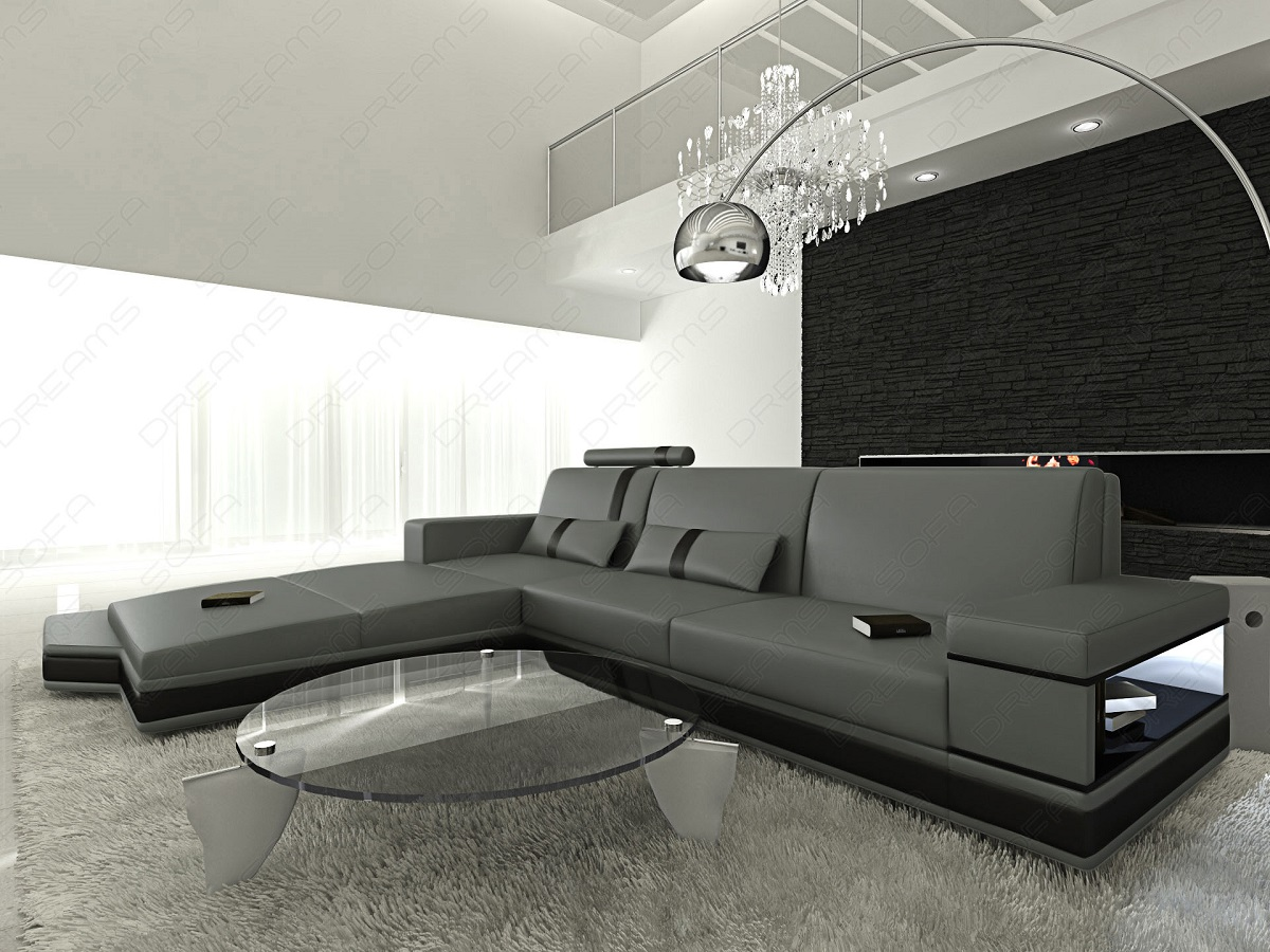 design l shaped sofa messana with lights grey black ebay. Black Bedroom Furniture Sets. Home Design Ideas