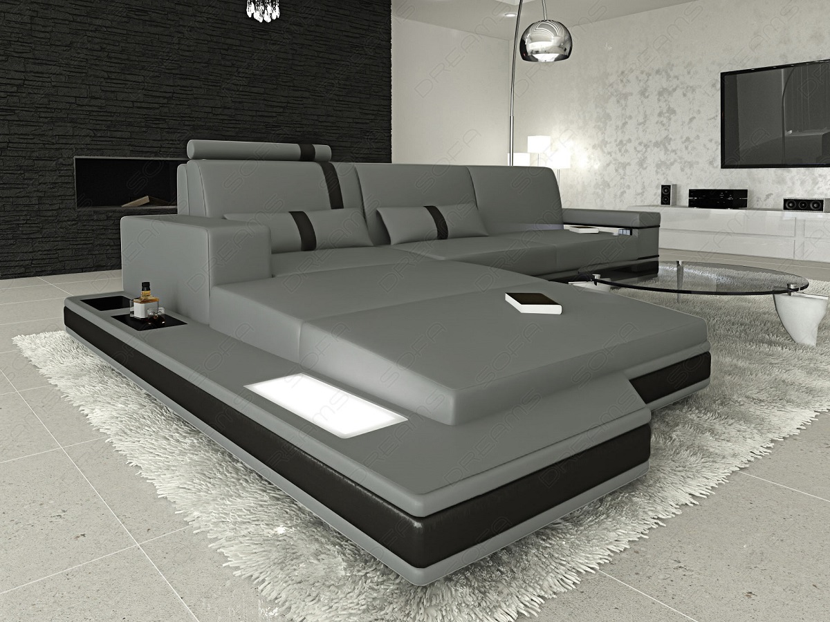 contemporary leather sectional sofa set messana l shaped with illumination ebay. Black Bedroom Furniture Sets. Home Design Ideas