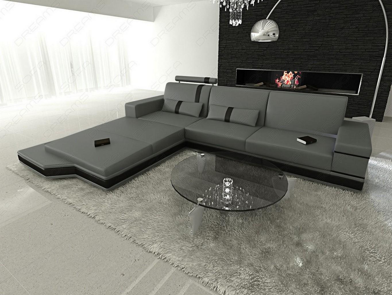 design l shaped sofa messana with lights grey black ebay. Black Bedroom Furniture Sets. Home Design Ideas